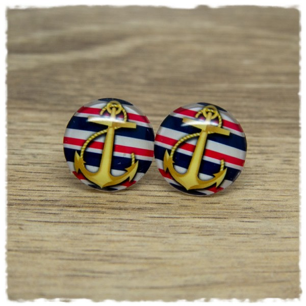1 Paar Ohrstecker mit goldenem Anker auf weißen, roten und blauen Streifen