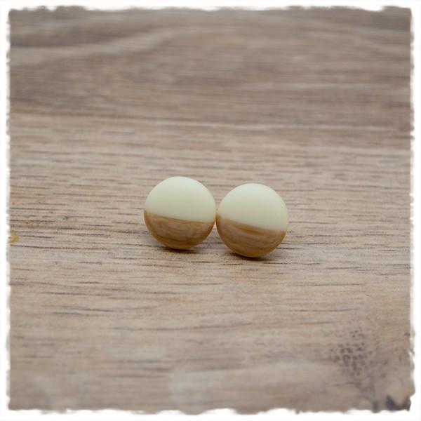 1 Paar Ohrstecker in 12 mm matt beige mit Holzdekor