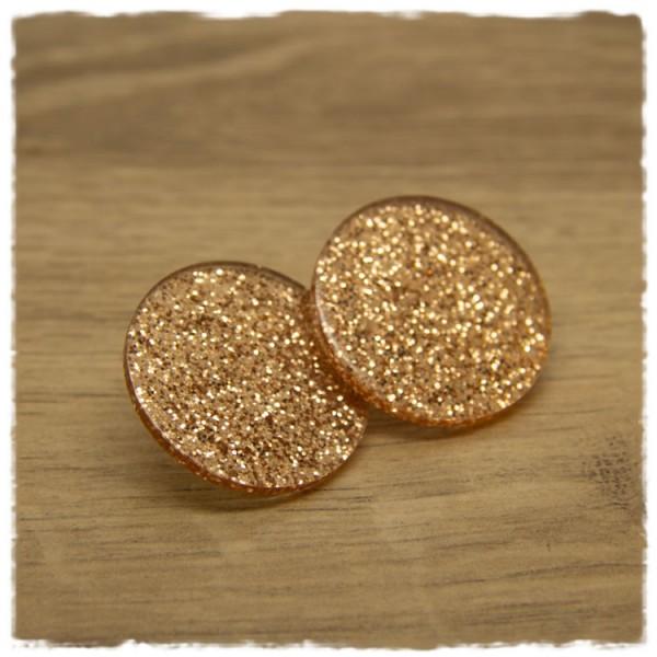 1 Paar Glitzerohrstecker in 30 mm trans clear golden
