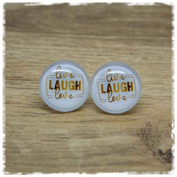 1 Paar Ohrstecker live, LAUGH, love