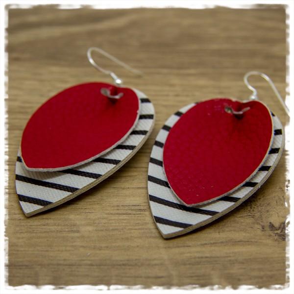 1 Paar Lederohrhänger schwarz weiß und rot