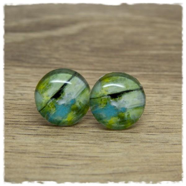 1 Paar Ohrstecker mit grün grauem Holzdekor