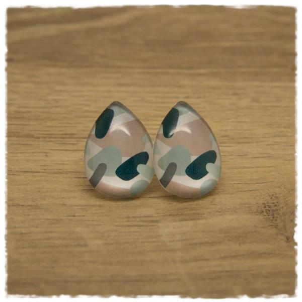 1 Paar große Ohrstecker in Tropfenform weiß mit Muster in rosa und petrol