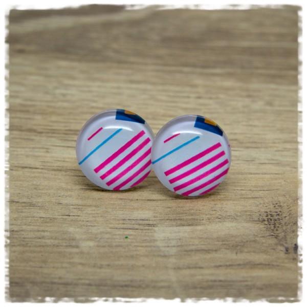 1 Paar Ohrstecker weiß mit pinken und blauem Strichen