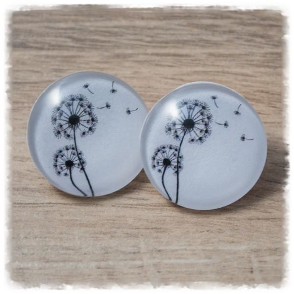1 Paar Ohrstecker in 25 mm weiß mit schwarzen Pusteblumen (wahlweise als Ohrclips)