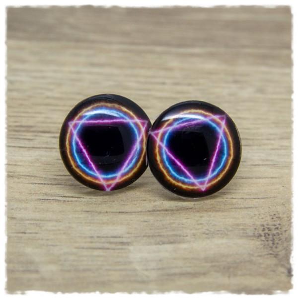 1 Paar Ohrstecker schwarz mit pinkem Dreieck und blau und orangem Kreis
