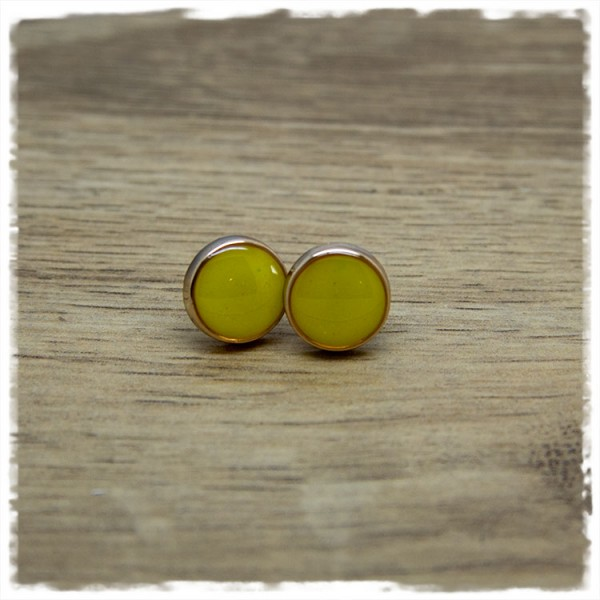 1 Paar Ohrstecker in 12 mm gelb mit Rand in rosegold