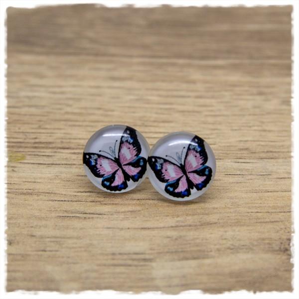 1 Paar Ohrstecker 14 mm mit rosa Schmetterling