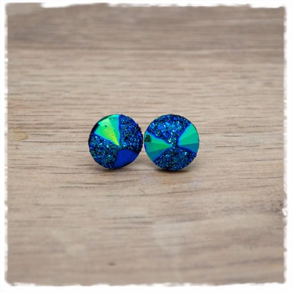 1 Paar Glitzerohrstecker in 12 mm dunkelblau