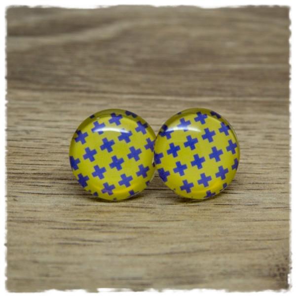 1 Paar Ohrstecker gelb mit lila Kreuzen