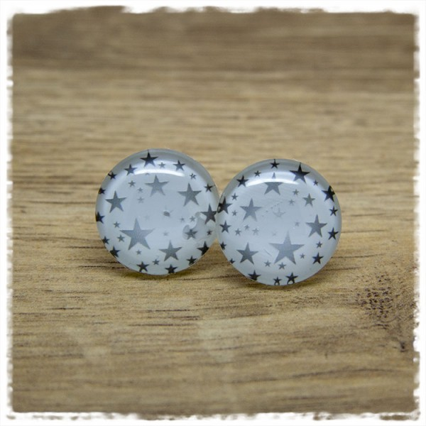 1 Paar Ohrstecker weiß mit grauen Sternen