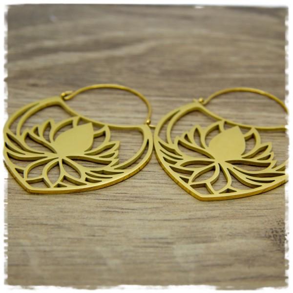 1 Paar Ohrhänger in 45 mm golden mit Blüte