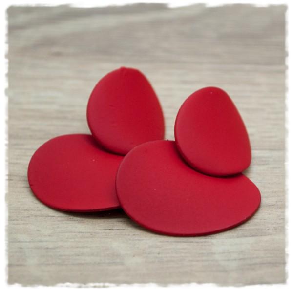 1 Paar Ohrstecker in 20 mm oval einfarbig matt rot