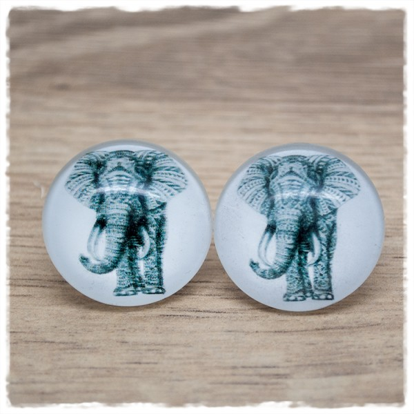 1 Paar Ohrstecker in 25 mm mit Elefant (wahlweise als Ohrclips)