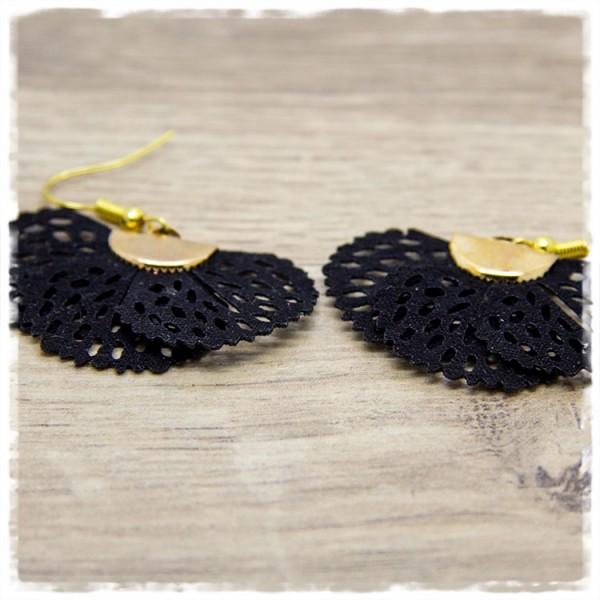 1 Paar Ohrhänger in 40 mm schwarzer Fächer