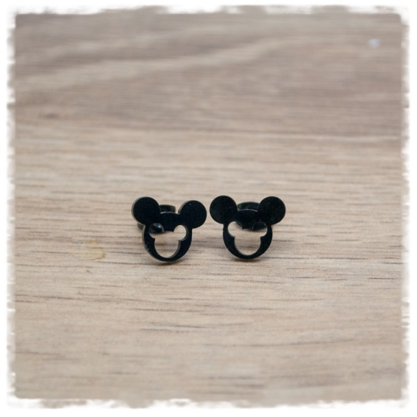1 Paar Ohrstecker in 12 mm Mickey Mouse schwarz