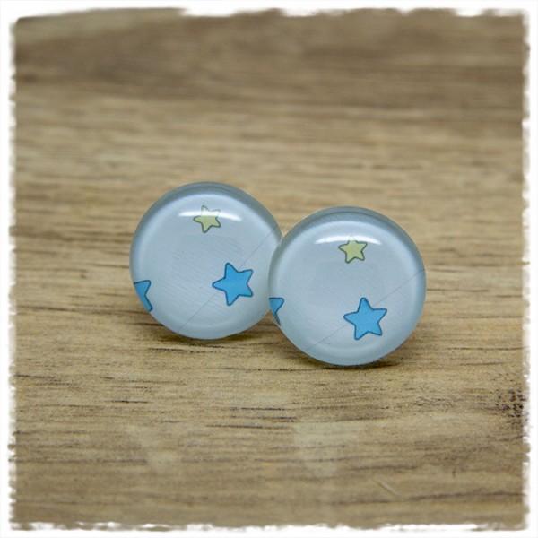 1 Paar Ohrstecker in 20 mm mit gelbem und blauem Stern