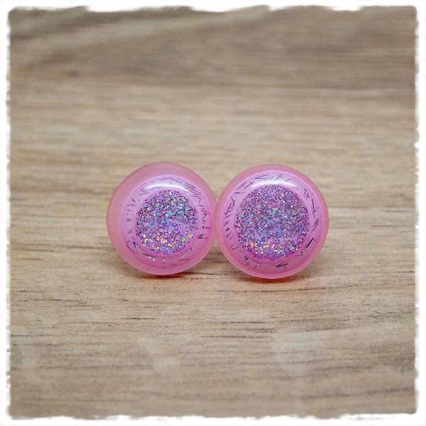 1 Paar Ohrstecker 18 mm leuchtendes rosa mit Glitzer
