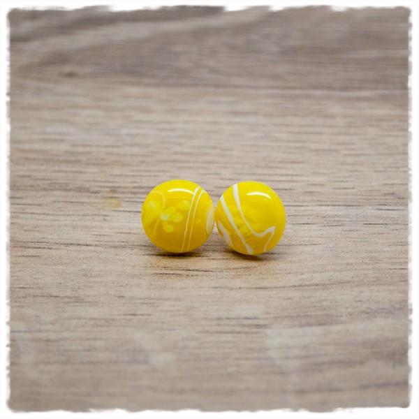 1 Paar Ohrstecker in 12 mm gelb weiß marmoriert