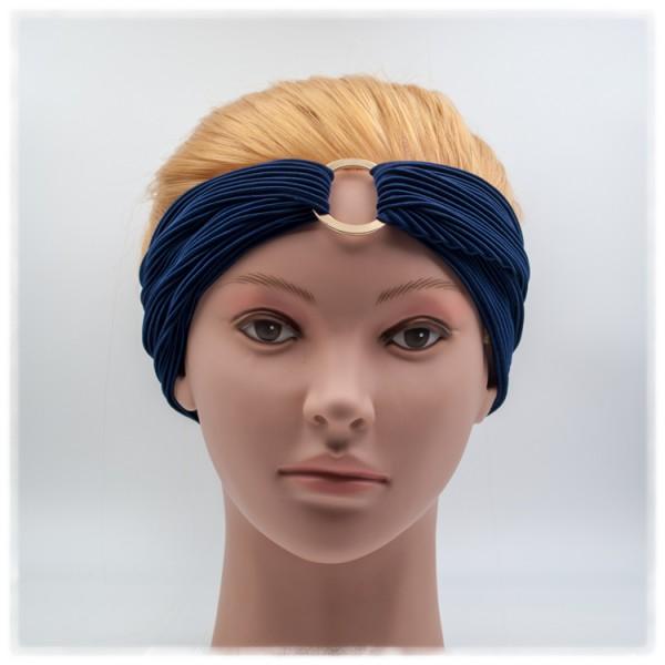 Haarband marine mit goldenem Ring