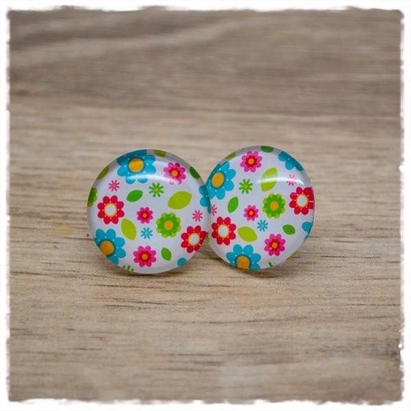 1 Paar Ohrstecker mit bunten Blüten