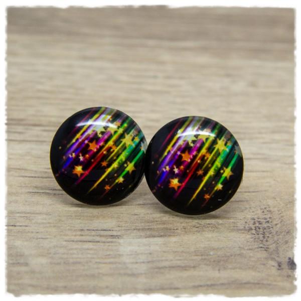 1 Paar Ohrstecker schwarz mit Sternen und bunten Streifen