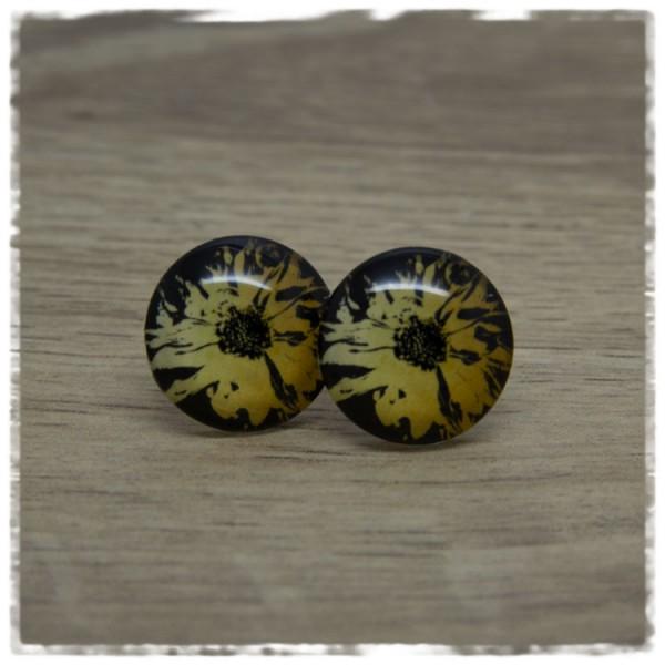 1 Paar Ohrstecker schwarz mit goldener Blüte