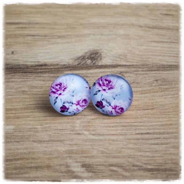 1 Paar Ohrstecker mit lila Blüten auf hellblauem Hintergrund (wahlweise als Ohrclips)