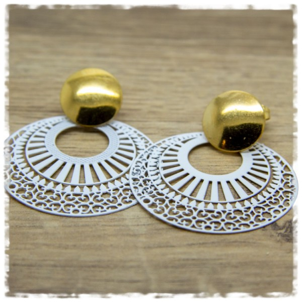 1 Paar Ohrhänger in 40 mm weiß golden