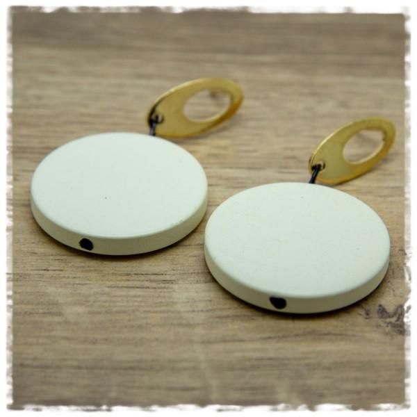 1 Paar Ohrhänger 30 mm in beige und golden