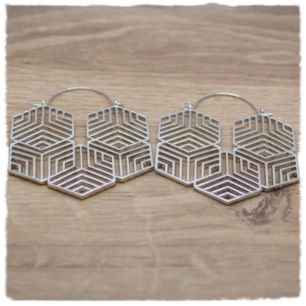 1 Paar Ohrhänger in 45 mm Hexagon silber