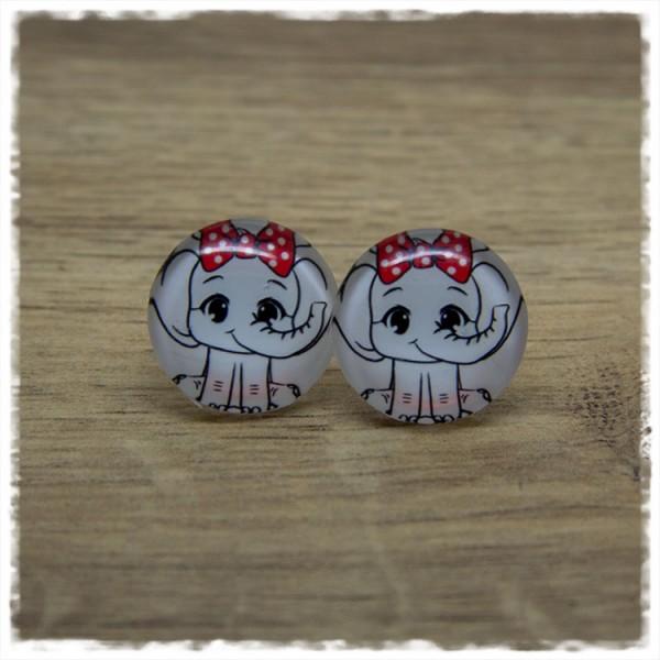 1 Paar Ohrstecker mit Elefant und roter Schleife
