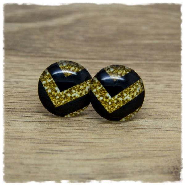 1 Paar Ohrstecker mit schwarzen und goldenen Streifen