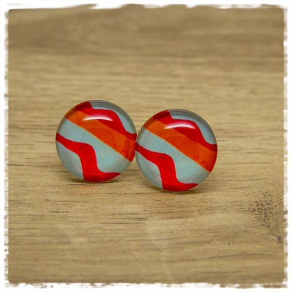 1 Paar Ohrstecker hellblau, rot und orange gemustert