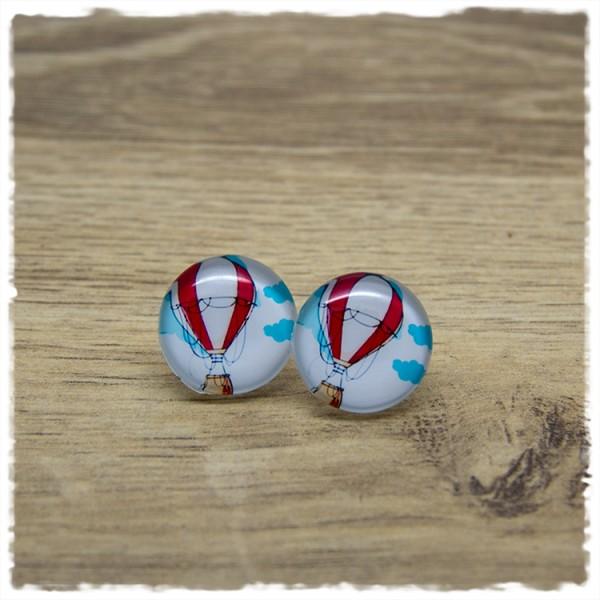 1 Paar Ohrstecker 18 mm mit Heißluftballon