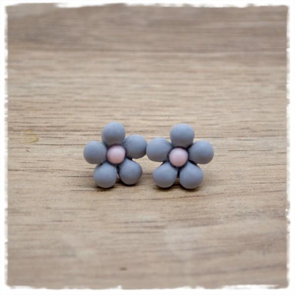 1 Paar Ohrstecker in 14 mm graue Blüte