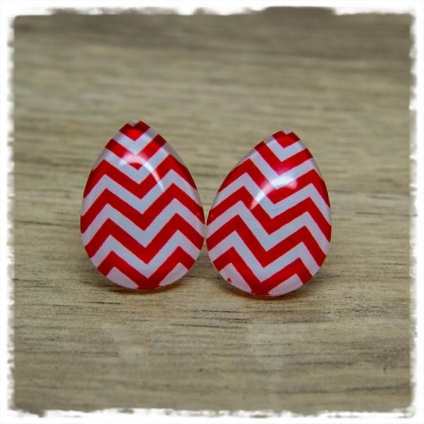 1 Paar Ohrstecker in Tropfenform rot weiß gezackt
