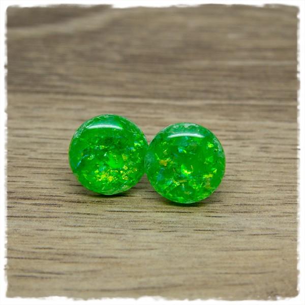 1 Paar Ohrstecker in 16 mm grün mit Glitterflakes