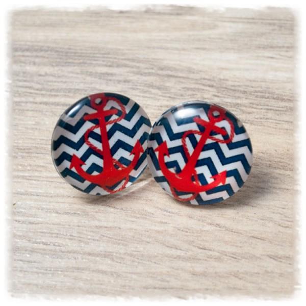 1 Paar Ohrstecker in 20 mm blau weiß gezackt mit rotem Anker (wahlweise als Ohrclips)