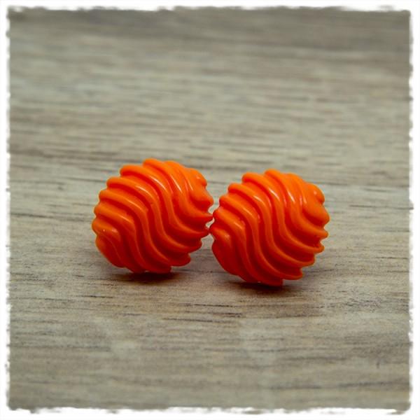 1 Paar Ohrstecker in 16 mm einfarbig orange mit Wellen