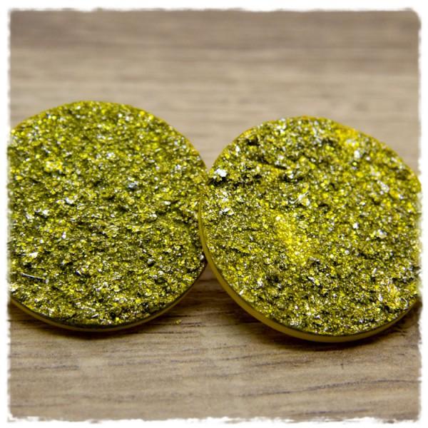 1 Paar Ohrstecker in 35 mm golden mit Struktur