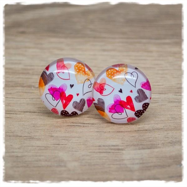 1 Paar Ohrstecker 12mm mit bunten Herzen