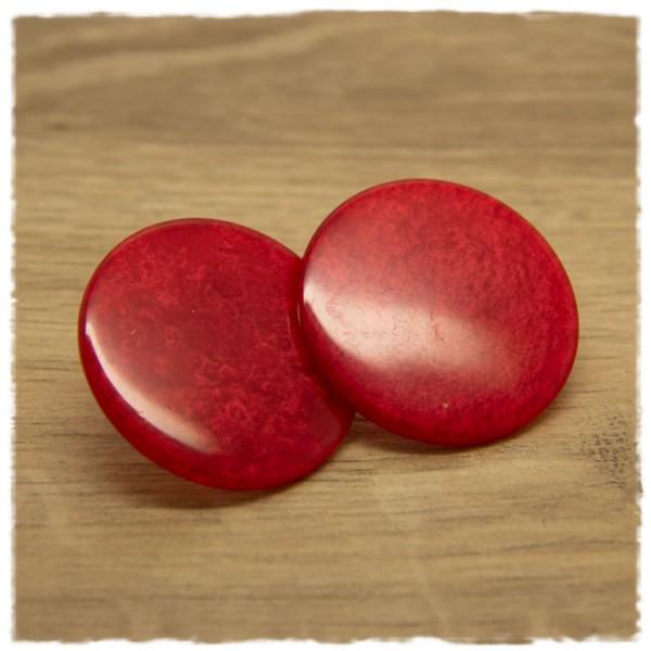 1 Paar flache Ohrstecker in 35 mm rot gemustert