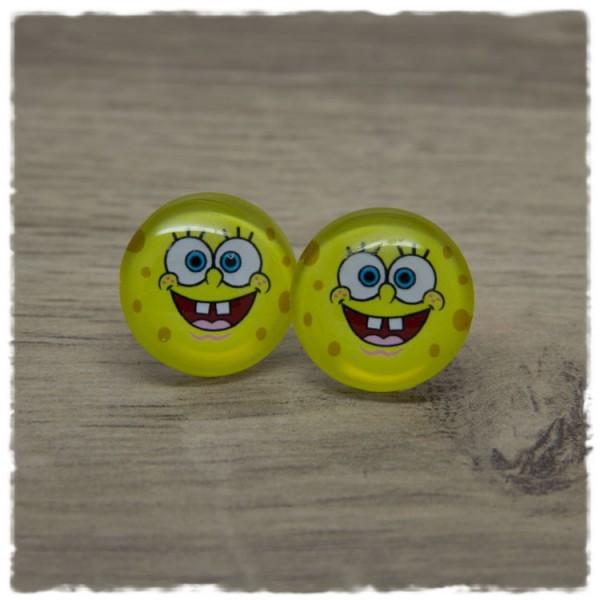 1 Paar Ohrstecker mit gelbem Gesicht