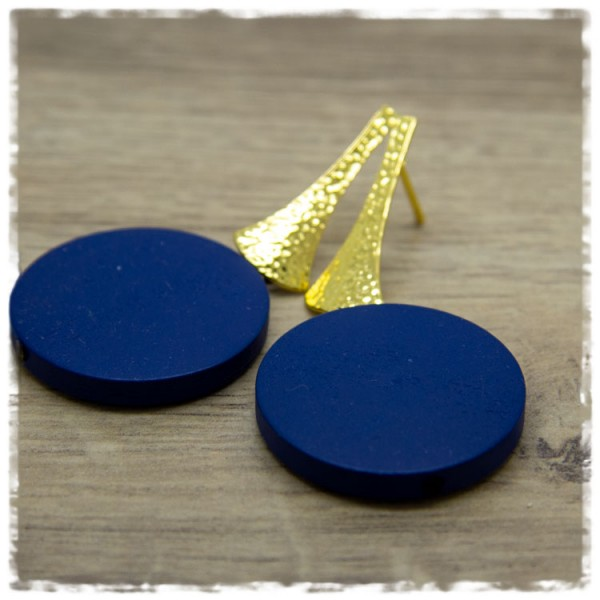 1 Paar Ohrhänger 30 mm in dunkelblau und golden
