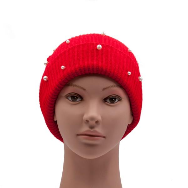 Wollmütze rot mit Perlenapplikation
