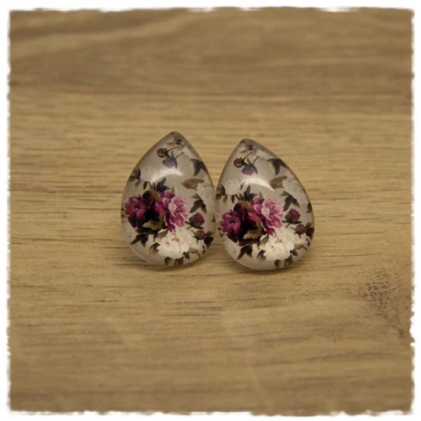 1 Paar große Ohrstecker in Tropfenform weiß mit mehrfarbigen Blumen