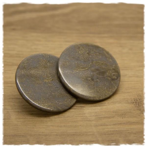 1 Paar flache Ohrstecker in 35 mm grau gold gemustert