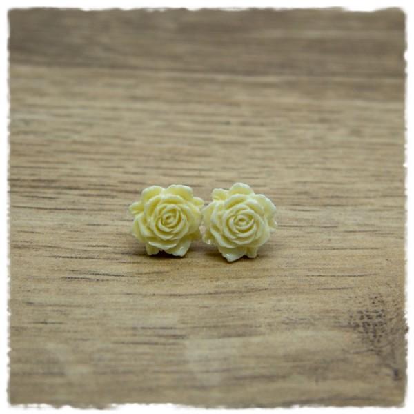 1 Paar Ohrstecker in 12 mm beige Rose