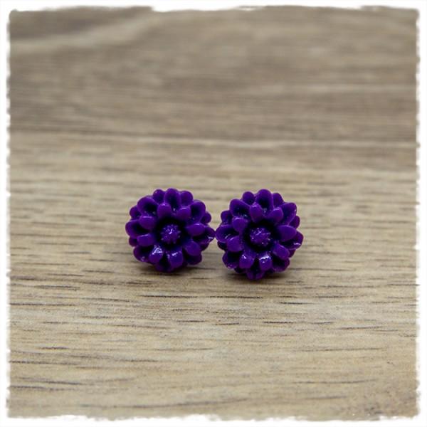 1 Paar Ohrstecker in 12 mm Blüte lila